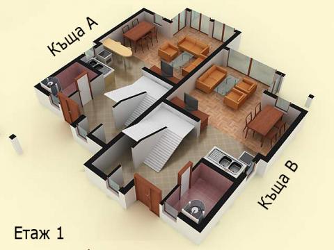 Къща тип 2 | план етаж 1 | Комплекс Созополис